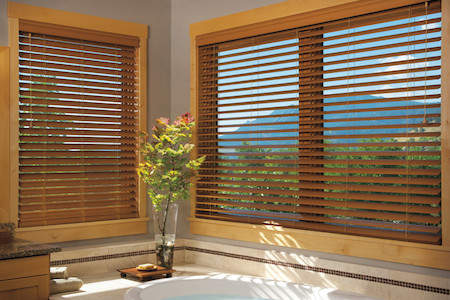 wooden-window-blinds-for-large-glass-window-beautiful-glass-vase-with-green-vivid-decorative-plant