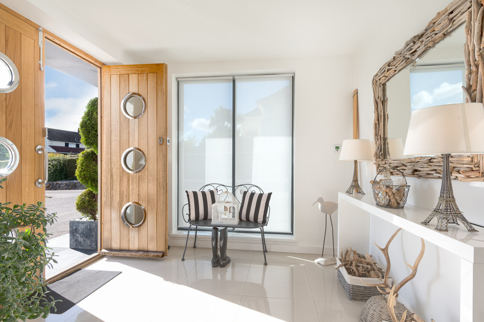 Innovative Bamboo Roll Up Blinds In Entry Beach Style With Privacy